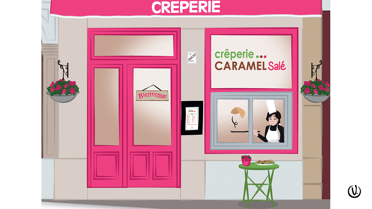 Illustration flyer crêperie Lyon