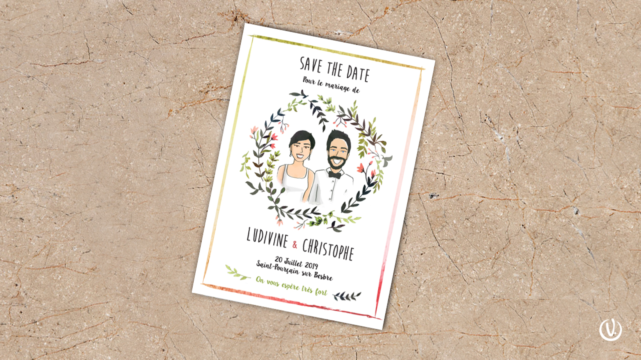 Illustration couple save the date mariage particuliers
